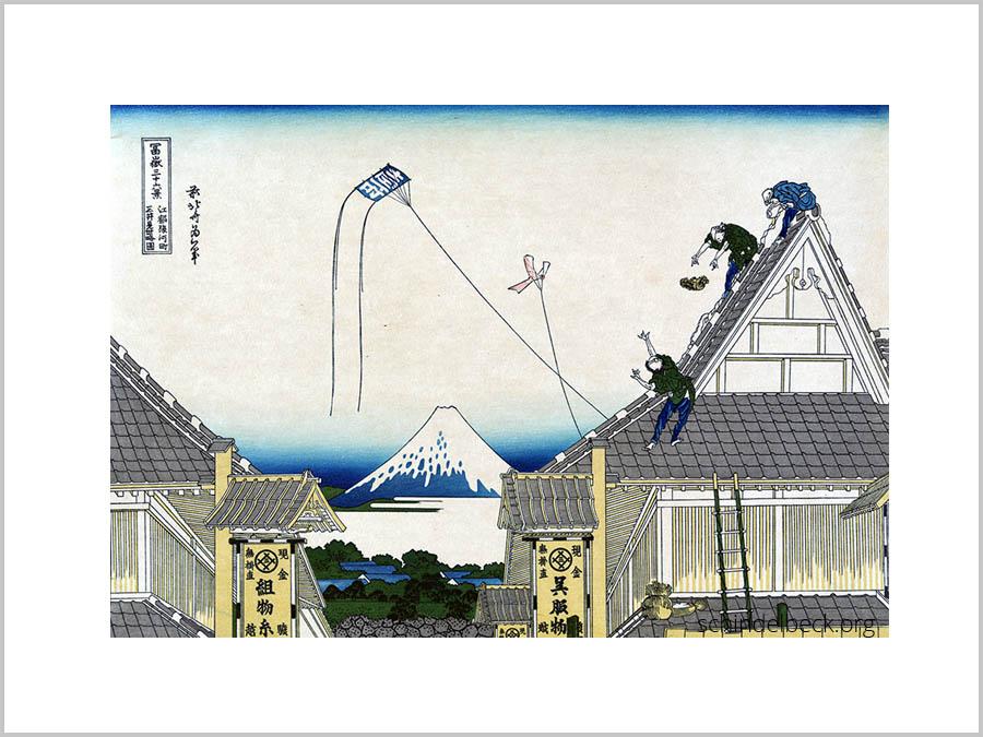 Mitsui-Läden bei Suruga-chō in Edo - japanischer Holzschnitt von Katsuhita Hokusai